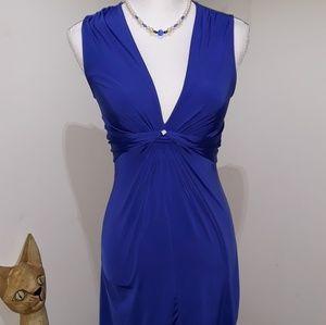 Royal blue low neck keyhole sleeveless dress